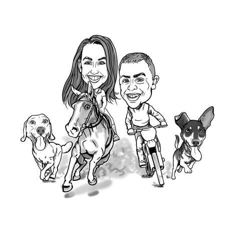 Pareja con caricatura de mascotas en estilo de contorno en blanco y negro de fotos - example