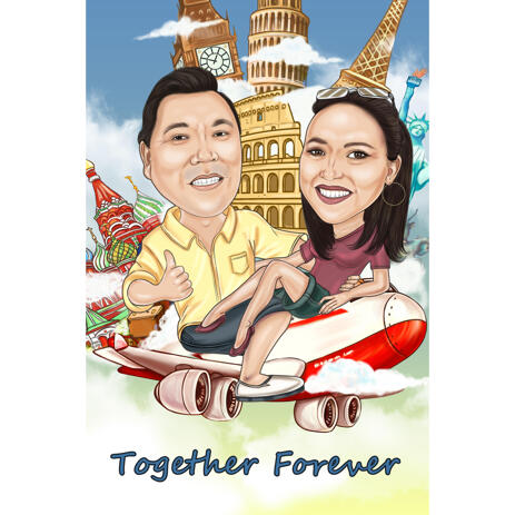 Forever Together - Anniversary Couple Caricature Gift with Personalized Background - example