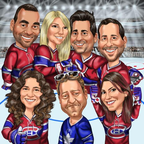 Hockey Team Group Caricature from Photos - example