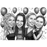 Party Group Friends Cartoon Drawing i svartvitt stil från foton