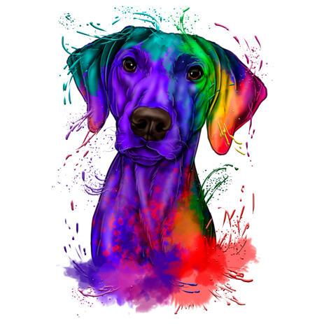Dibujos animados de retrato de perro Braco alemán en acuarela arco iris - example