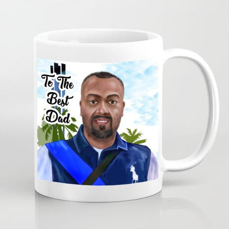 Print on Photo Mug: Digital Caricature Drawing on Father's Day - example
