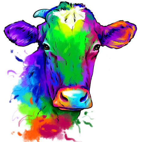 Watercolor Cow Portrait from Photos in Colored Style - example