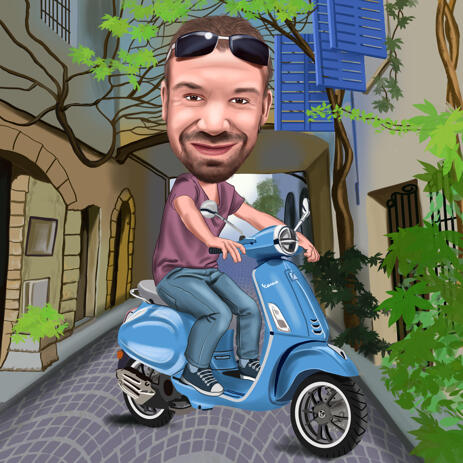 Riding Motorcycle Cartoon fra fotos i farvet digital stil - example