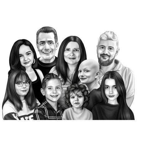 Custom Family Group Memorial Celebration of Life Gift in Black and White Style - example