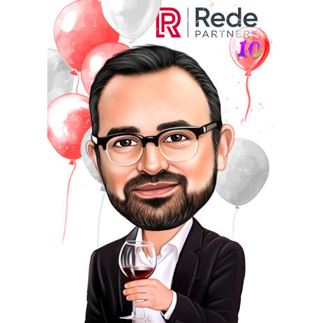 Boss Birthday Cartoon Caricature Portrait with Wine from Photos for Business Gift - example