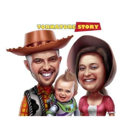 Family Caricature for Toy Story Fans - example