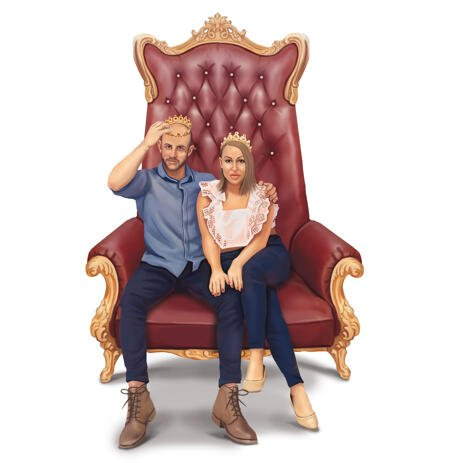 King and Queen Couple Portrait in Full Body Color Style from Photos - example