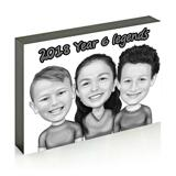 Children Caricature Printed on Photo Block