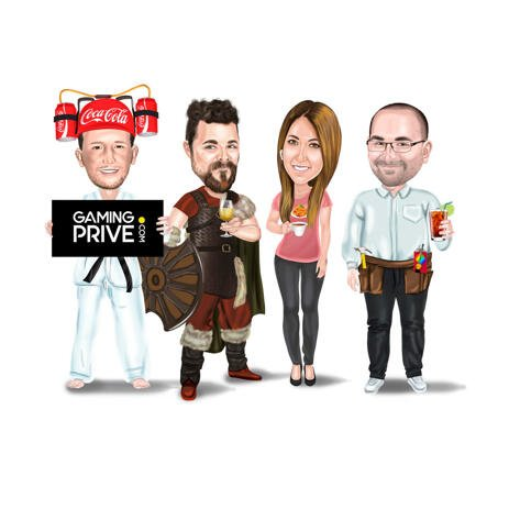 Full Body Company Cartoon Portrait in Colored Style with Business Logo from Photo - example