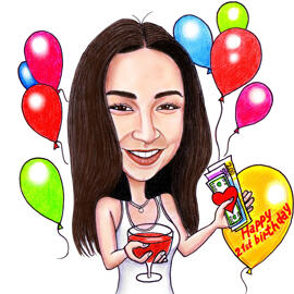Birthday Caricature in Pencils as Holding a Glass of Wine