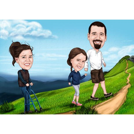 Travel Vacation Camper Family Cartoon Caricature with Custom Background - example