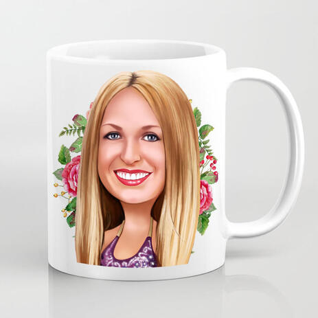 Mothers Day Gift - Cartoon Caricature Portrait Gift for Her Printed on Mug - example