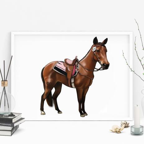 Цветной портрет лошади в полный рост с фотографий на постере. - example
