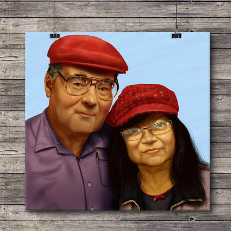 Custom Couple Anniversary Caricature Portrait Gift Printed on Canvas - example