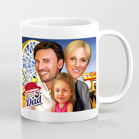 Photo Print on Mug: Custom Group Family Drawing on Father's Day - example