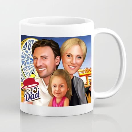 Photo Print on Mug: Custom Group Family Drawing on Father's Day - example