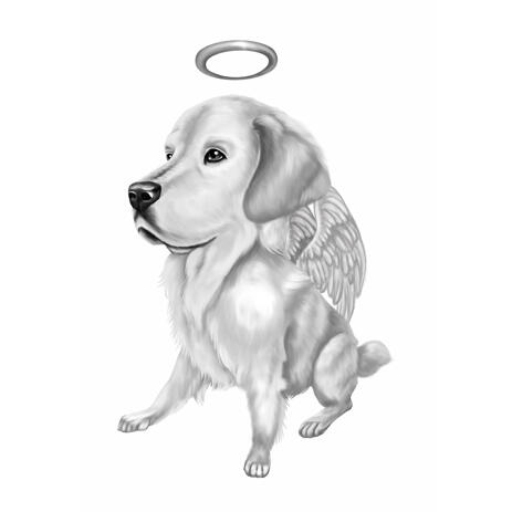 Full Body Dog Memorial Cartoon Portrait in Black and White Style for Pet Loss Gift - example