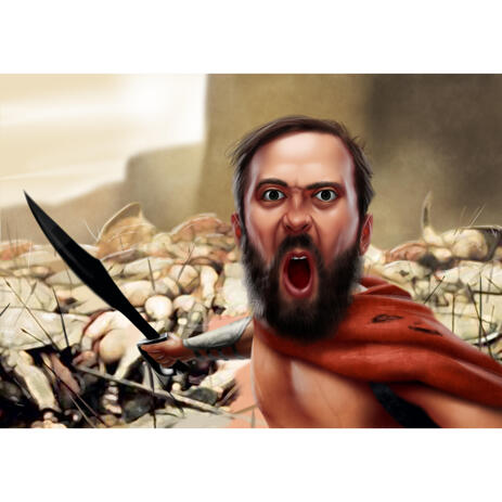 """""""This is Sparta"""" Caricature from Photos for 300 Spartans Fans - example"""