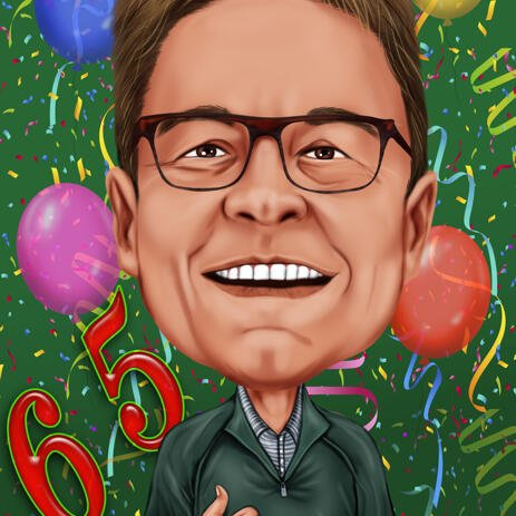 Birthday Party Cartoon Drawing in Colored Digital Style with Simple Background - example