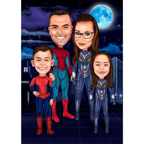 Superhero Family with Two Kids Caricature from Photos with Mysterious Night Background - example