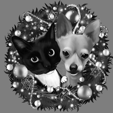 Pets in Wreath Caricature in Black and White Style as Christmas Gift for Pet Lovers - example