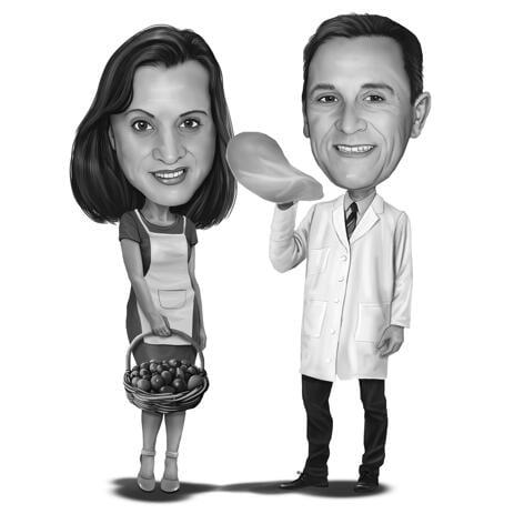 Caricature de couple avec différents loisirs - example