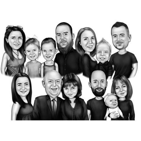 Group Cartoon Drawing in Black and White Digital Style - example