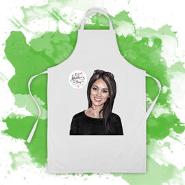 Full Apron: Printed Woman Portrait Drawing on Apron as Mother's Day Gift Idea