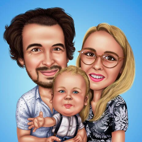 Lovely Family Caricature with Single Color Background - example