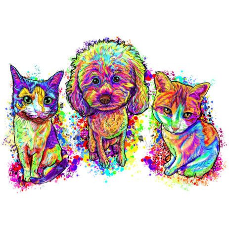 Full Body Mixed Pets Caricature in Rainbow Watercolor Style - example