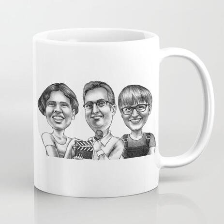 Printed Mug - Group Caricature Hand Drawn from Photos in Monochrome Style - example