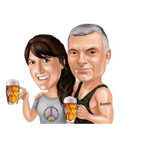 Beer Drinking Couple Caricature in Colored Style from Photos - example