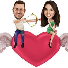 Sēžot pie Cupid sirds - Valentīna dienas karikatūra