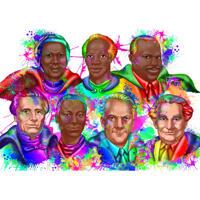 Aangepaste karikatuurportret van nationale helden in aquarel-regenboogstijl van foto's