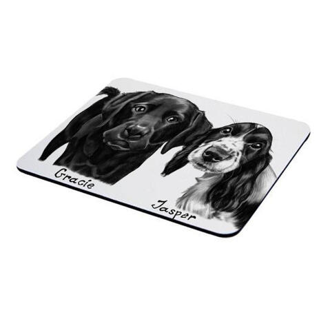Dogs Caricature Drawing on Mouse Pad - example