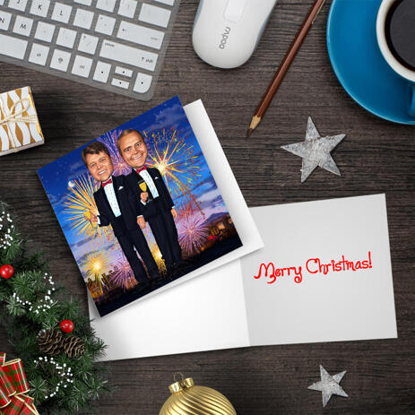Persons Christmas Holiday Caricature Gift with Set of 10 Cards in Color Style from Photo - example