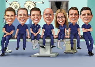 Doctors Group Caricature from Photos