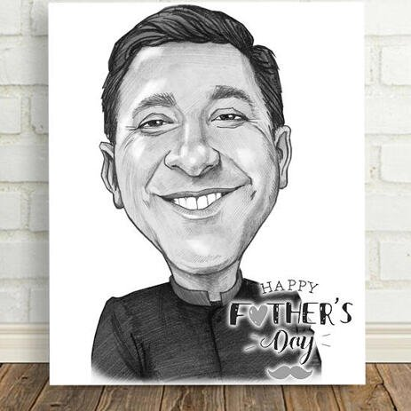Happy Father's Day Caricature Gift in Black and White Pencil Style on Canvas - example