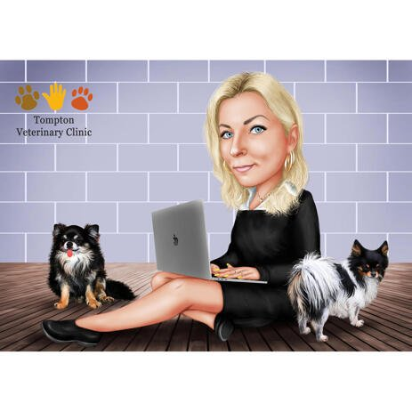 Vet Clinics Logo with Custom Caricature and Pets - example