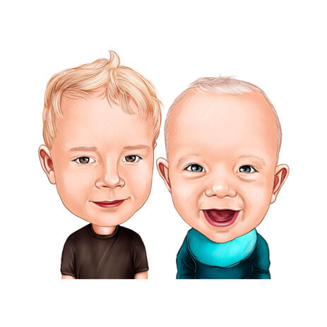 Baby Boys Caricature Portrait from Photos for Personalized Kids Cartoon Drawing Gift - example