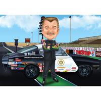 Sportwagen-Rennfahrer-Karikatur der Person im Ganzkörpertyp mit Rennstrecken-Hintergrund