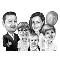 Ritratto di cartone animato di famiglia da foto in stile bianco e nero per regalo personalizzato per parenti