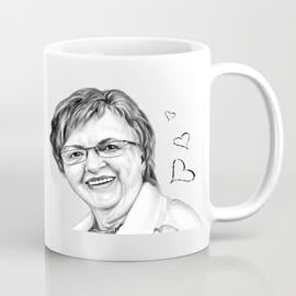 Mug with Printed Drawing: Personalized Portrait Drawing from Photo