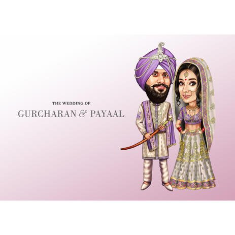 Indian Wedding Couple Caricature for Invitation Card in Colored Style from Photos - example