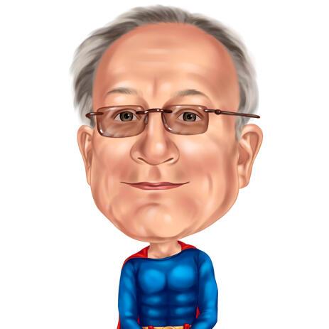 Grandpa Superhero Drawing Caricature from Photos for Custom Hero Man Gift - example