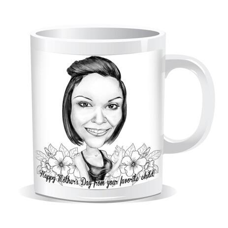 Regalo de caricatura de feliz día de la madre en estilo blanco y negro impreso en taza - example