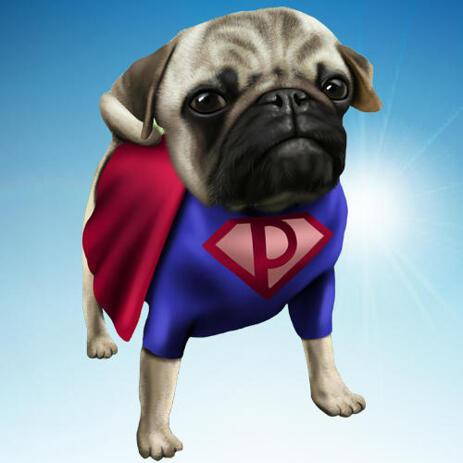 Superhero Bulldog Cartoon Caricature with Gradient Background - example