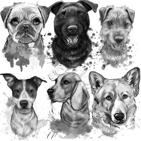 Retrato de cachorro grafite de fotos em estilo preto e branco - example