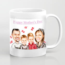Personalized White Ceramic Mug: Family Cartoon Illustration from Photo